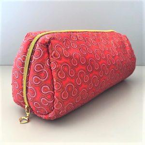 Toilettaske Isabell i rød, lyserød, bordeaux, guldglimmer fra Mitomito